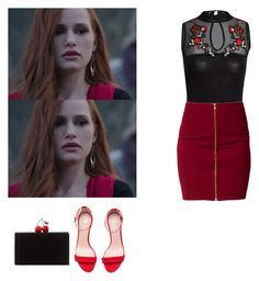 Cheryl blossom outfit with flat/small heeled sandals - Riverdale by shadyannon on Polyvore featuring polyvore fashion style Jeane Blush H&M Edie Parker clothing