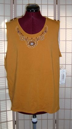 New WT TanJay Sz XL Butterscotch Yellow Knit Tank Top W/ Wood Beading #TanJay #KnitTop