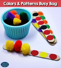 For this Colors and Patterns Busy Bag, children will practice identifying colors and creating patterns using simple materials