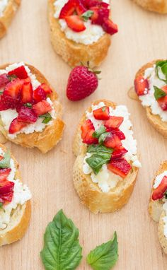 Strawberry-Basil Bruschetta with Fresh Ricotta - a perfect appetizer for summer! | Kristine's Kitchen