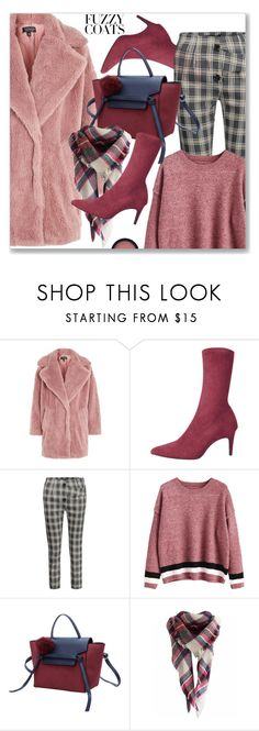 """""""Keep it Cozy: Fuzzy Coats"""" by jecakns ❤ liked on Polyvore featuring Topshop"""