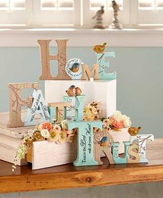 Bring a fresh, uplifting look to your decor with this Inspirational Word Sculpture. The word is spelled out in block letters and detailed with stitch lines, vines and 3-D birds. A coordinating sentiment is inscribed on one of the letters. Looks great on