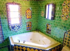 Moroccan themed bathroom using Turkish, Moroccan and Mexican tiles by http://www.kristiblackdesigns.com