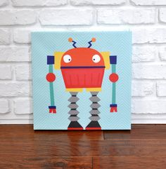 Robots Rule Phil  Canvas Wall Art by VickyBaroneDesigns on Etsy, $69.00