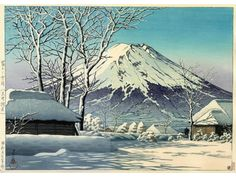 Not dated - Hasui, Kawase - clear day snow, Mt Fuji seen from Oshino