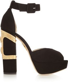 Heel measures approximately inches with a 1 inch platform Black suede Buckle-fastening ankle strap Alexander Mcqueen Bracelet, Glass Slipper, Fashion Heels, Charlotte Olympia, Ankle Straps, Chunky Heels, Heeled Mules, Bag Accessories, Shoe Bag