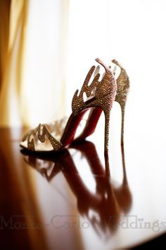 Accessories your couture wedding dress with matching Christian Louboutin shoes! Wedding by Monte-Carlo Weddings