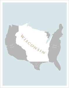 11x14  Map of US featuring Wisconsin  print by delovelyArts, $19.50