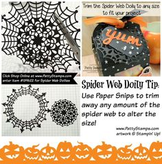Tip for Stampin' UP! Spider Web Doily - create a custom size doily to suit your Halloween crafting project!