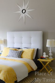 Upholstered Headboard - IKEA Malm hack. Love this idea for the guest room!