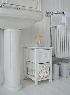 Hamptons Cream Large Bathroom Cabinet With Baskets Bathroom