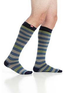 VIM & VIGR Compression Socks - Men's Thick Stripes: Light Blue & Grey (Cotton)