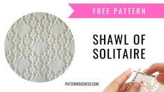 Beautiful knitted lace shawl knitting pattern with diamond stitch - written instructions as well as chart + video tutorial. Lace Knitting Patterns, Knitting Stiches, Knitting Blogs, Shawl Patterns, Lace Patterns, Loom Knitting, Free Knitting, Baby Knitting, Knitted Baby