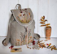 """Buy Linen backpack """"Motley grass"""" - backpack, gift for . Embroidery Bags, Machine Embroidery Applique, Silk Ribbon Embroidery, Sewing Art, Sewing Crafts, Sewing Projects, Leather Bags Handmade, Handmade Bags, Cotton Shopping Bags"""