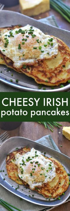 Savory Irish Potato Pancakes loaded with Kerrygold Skellig cheese fresh chives and minced garlic for a delicious twist that's perfect for breakfast lunch or dinner! Breakfast Dishes, Breakfast Time, Breakfast Recipes, Breakfast Pancakes, Dinner Pancakes, Potatoes For Breakfast, Breakfast Ideas, European Breakfast, Pancakes For One