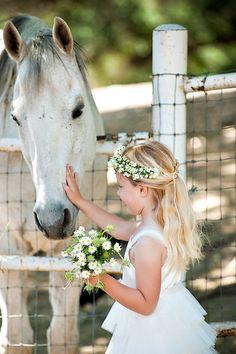Flower girl & horse - so sweet!