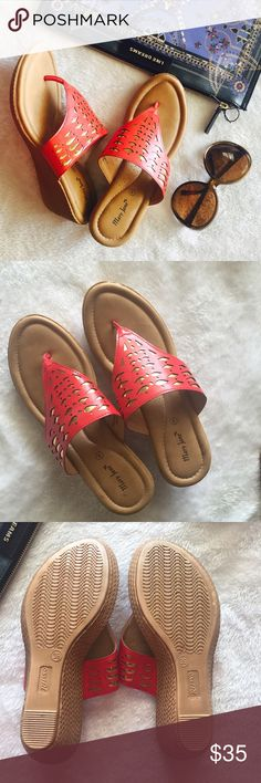 """🆕 Coral wedges Very pretty laser cut style wedges in coral color . Size says 39 but it fits size 8 the best . My mom got these from India for me but unfortunately small for me . Platform is 0.5"""" and wedge heels is 2"""". New without box . Shoes Platforms"""
