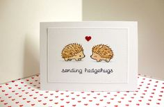 handmade Valentine card .. hedgehogs ... punny sentiment ... clean a simple layout ... luv how the die cut panel with embossed stitched lines gives it a finished look ...