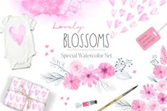 Special for Valentine's Day Design! Watercolor Florals and Hearts Set perfect for February This Pack Watercolor Lovely Blossoms includes delicate and romantic pink flowers, blossoms, Pencil Illustration, Watercolor Illustration, Graphic Illustrations, Blog Design, Diy Design, Design Set, Creative Design, Pink Tone, Creative Sketches