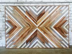 Aleksandra Zee artwork using reclaimed wood. Reclaimed Wood Wall Art, Wooden Wall Art, Diy Wall Art, Wood Art, Wall Decor, Wood Projects, Woodworking Projects, Wood Mosaic, Geometric Wall Art