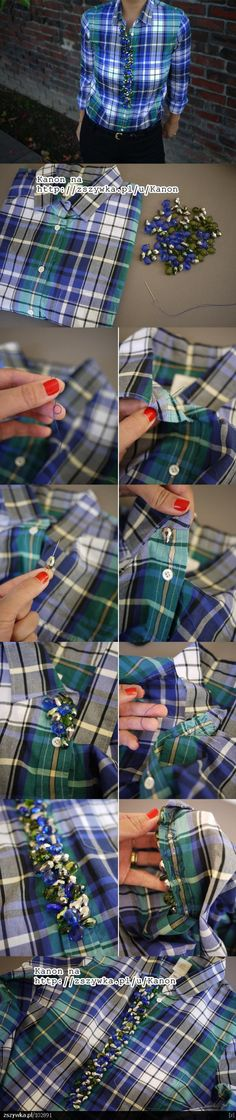 Camisa bordada con piedras #Fashion #DIY