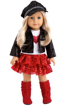 Black faux snake leather motorcycle jacket and paperboy hat decorated with rhinestone ribbon with white t-shirt with red heart, red ruffled sequined skirt and red boots. Doll outfit contains a wide back closure for easy dressing and clothing removal. Our doll clothes fits 18 inch American Girl dolls. Designed in the USA and sold Exclusively by DreamWorld Collections. DOLL(S) NOT INCLUDED U.S. CPSIA CHILDREN'S PRODUCTS SAFETY CERTIFIED