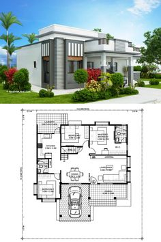 This four bedroom modern house design with roof deck has a total floor area of 177 square meters not including the roof deck. This design can fit in a lot with a total lot area of 300 square meters having at least meters lot frontage. Architect Design House, House Roof Design, 2 Storey House Design, Duplex House Design, Home Building Design, House Floor Plan Design, Single Floor House Design, Two Storey House Plans, One Storey House