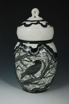 Crows in our Tree large lidded jar. Made by Rebecca A. Grant Ceramics www.rgrantartworks.com