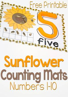 These free printable sunflower play dough mats for numbers are great! There are so many ways to use them. Words, number recognition, counting and ten-frames! Autumn Activities For Kids, Counting Activities, Preschool Activities, Preschool Rules, Preschool Schedule, Preschool Curriculum, Teen Numbers, Numbers 1 10, Play Based Learning