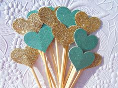 Gold and Aqua/Teal Small Cupcake Toppers  Wedding by suziescards