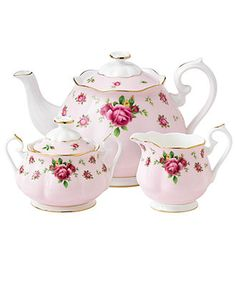 Royal Albert Dinnerware, Old Country Roses Pink Vintage 3 Piece Tea Set - Fine China - Dining & Entertaining - Macy's Royal Albert, Prince Albert, Tea Cup Saucer, Tea Cups, Pink Teapot, Classic Dinnerware, Casual Dinnerware, Vintage Dinnerware, China Dinnerware