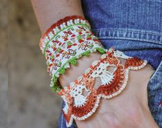 Crochet Beaded Bracelet Cuff. Crochet by KaterinaDimitrova on Etsy
