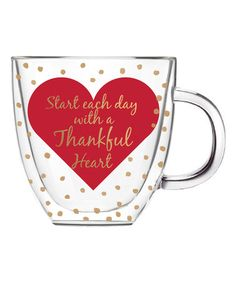 Another great find on #zulily! 'Thankful Heart' Double-Walled Glass Coffee Cup #zulilyfinds