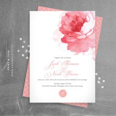 Painted Peony Wedding Invitation and RSVP postcard by KarameleShop, £20.00 <3 <3 love it!