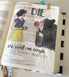 Found some inspiration online to create this fun page. Stay tuned for more Disney posts in the future.  #loveit #biblejournaling #disney #snowwhite #illustratedfaith by beccasbible