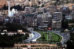 """Khorsid"" area (Ras Al Khatt ) in Damascus .. The road to the summit of Mount ""Kassioun"" to see the panoramic view of Damascus .. There are the most dangerous crossroads in Damascus .."