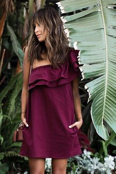 Off the shoulder, one shoulder, magenta, frills, boho, bohemian, knee length, summer, tan, pocket dress.
