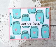 Libby's Little Addiction: January My Monthly Hero - Release + Giveaway! Mason Jar Cards, Mason Jars, Hero Arts Cards, Inspiration Cards, Card Making Techniques, Love Valentines, Jar Crafts, Card Kit, Scrapbooking Layouts