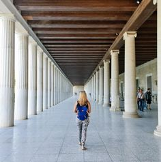 The restored, epic two storeyed Stoa of Attalos which was probably the world's first ever shopping arcade Athens, Arcade, Europe, City, World, Lp, Centre, Roman, Commercial