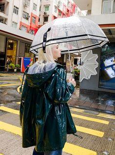 Green Raincoat, Pvc Raincoat, Rainy Day Fashion, Everyday Fashion, Clear Umbrella, Brollies, Pvc Vinyl, Rain Wear, Bomber Jacket