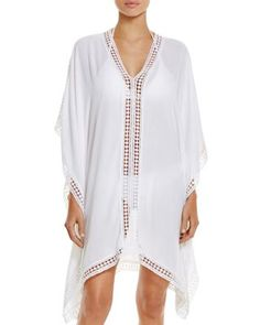 1f459e783d White Oversize V-neck Poncho Beach Cover Up