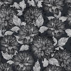 Black and White Floral #patternbank #newonpatternbank IG: @petroulatsipitori