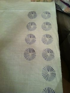 DIY potato stamping on cloth from My Many Moments blog.  I LOVE this.