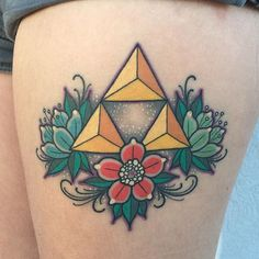 Traditional style Triforce tattoo by Katie McGowan