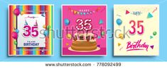 Vector Sets of 35 Years Birthday invitation, greeting card Design, with confetti and balloons, birthday cake, Colorful Vector template Elements for your Birthday Celebration Party.