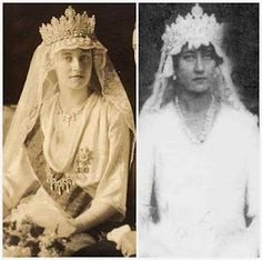Grand Duchess Charlotte (left) and her sister Princess Hilda (right) on their wedding days, each wearing he Luxembourg Empire Tiara.