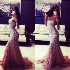 Pink, sequins, mermaid dress, prom, gown, evening