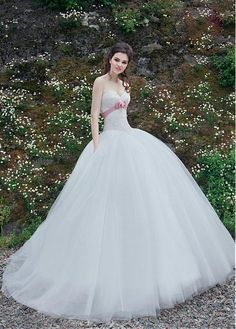 Glamorous Lace & Tulle Ball Gown Wedding Dress With Lace Appliques