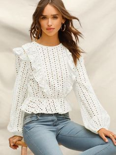 online shopping for Verdusa Women's Long Sleeve Eyelet Embroidery Ruffle Trim Peplum Crop Top from top store. See new offer for Verdusa Women's Long Sleeve Eyelet Embroidery Ruffle Trim Peplum Crop Top Crop Tops Online, All Jeans, Eyelet Top, Spring Shirts, Pli, Blouse Styles, Types Of Sleeves, Passion For Fashion, Fashionable Outfits