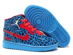 Air Jordan 1 Olympic Leopard Blue Varsity Red Shoes
